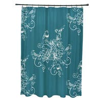 71 x 74-inch Morning Birds Floral Print Shower Curtain