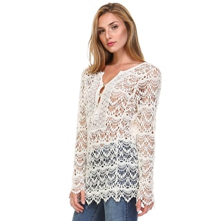 Tea n Rose Women's Ivory/Navy Cotton Long-sleeve Overlay Knit Top