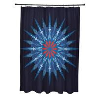 71 x 74-inch Sea Wheel Geometric Print Shower Curtain