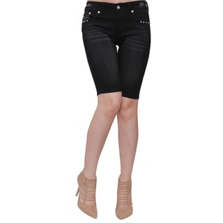 Sexy Couture Women's Black Cotton-blended Button-studded Jean Shorts