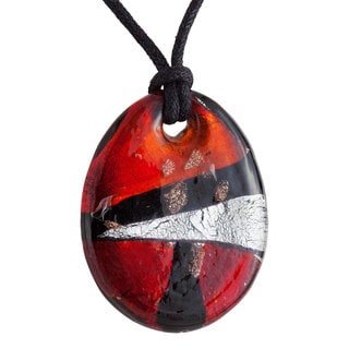 Red Oval Murano Glass Pendant