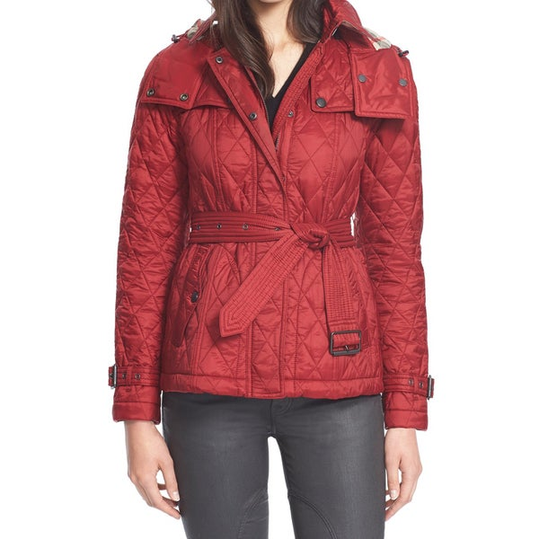 6a5b64e22eea Shop Burberry Women s Short Finsbridge Red Polyamide Belted Hooded Quilted  Jacket - Free Shipping Today - Overstock - 11916510