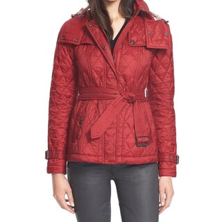 Burberry Women's Short Finsbridge Red Polyamide Belted Hooded Quilted Jacket