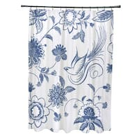 71 x 74-inch Traditionalal Bird Floral Floral Print Shower Curtain