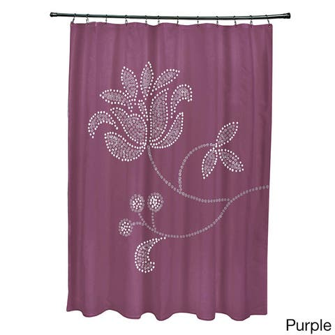 71 x 74-inch Traditional Flower-Single Bloom Floral Print Shower Curtain