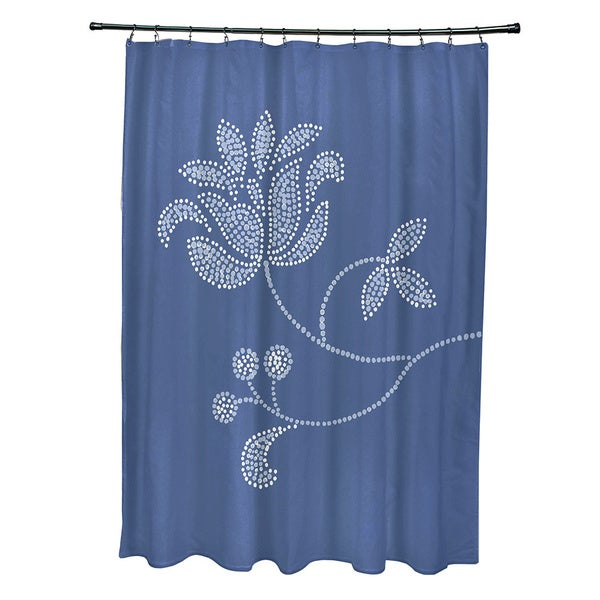 71 X 74 Inch Traditionalal Flower Single Bloom Floral Print Shower Curtain