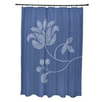 71 x 74-inch Traditionalal Flower-Single Bloom Floral Print Shower Curtain