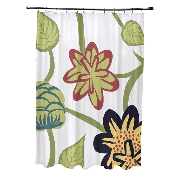 71 x 74-inch Tropical Floral Floral Print Shower Curtain