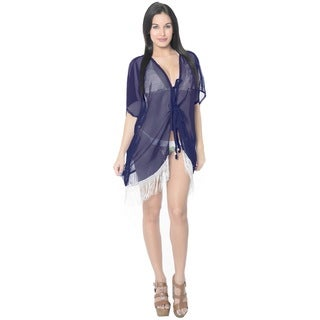 La Leela Chiffon LightWeight Kaftan Swimsuit Robe Beach Kimono Bikini Cover up Navy