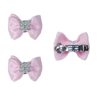 Insten French Barrette Pink Satin Dog Bow with Rhinestones