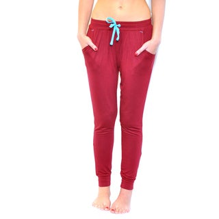 Women's Red Cotton/Jersey Knit/Spandex Lounge Jogger Pants With Drawstring