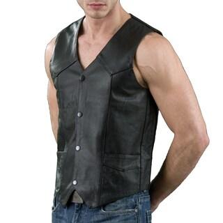 Black Leather Men's Classic Snap-front Vest with Gun Pockets