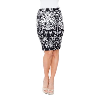 White Mark Women's Pretty and Proper Print Pencil Skirt