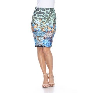 White Mark Women's Polyester Snake Print Pencil Skirt