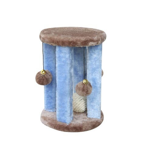 Blue Wood/Sisal Rope Plush Cat Tree with Hanging Swatting Toys