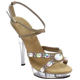Fabulicious Women's Tan Polyurethane Platform Criss-cross Sandals
