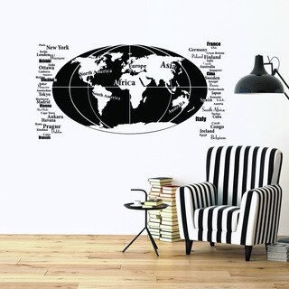 Style and Apply Oval World Map Vinyl Wall Decal