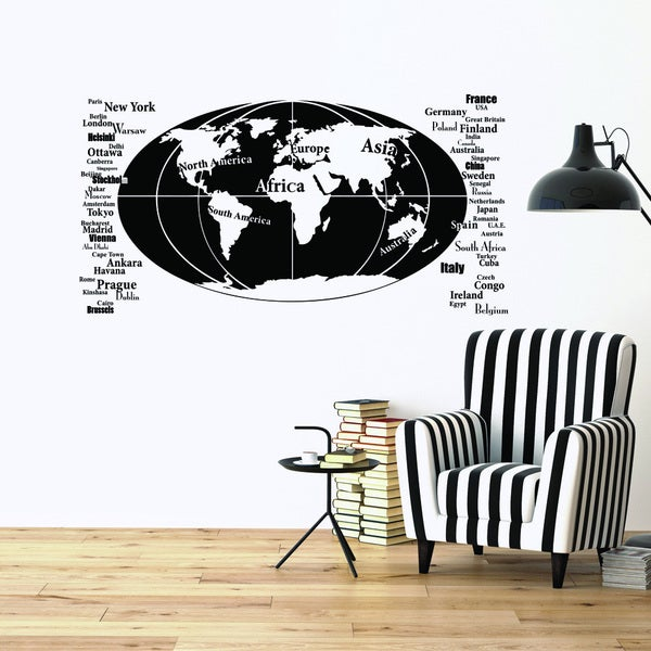 Shop style and apply oval world map vinyl wall decal free shipping style and apply oval world map vinyl wall decal gumiabroncs Gallery