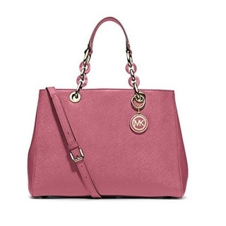 Michael Kors Cynthia Medium Leather Tulip Satchel Handbag