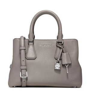 Michael Kors Camille Small Leather Pearl Grey Satchel Handbag