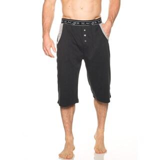 Slacker Men's Black/Grey Cotton/Polyester Lounge Short