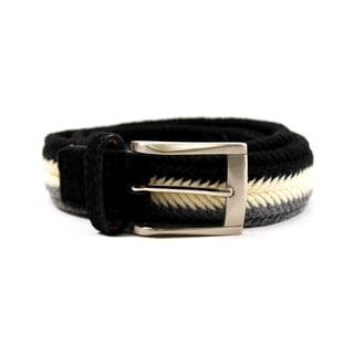 Zerbini Women's Black/Cream/Grey Textile 45-inch Belt
