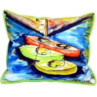 Kayaks Multicolored Polyester Indoor/Outdoor Throw Pillow (20 x 24)