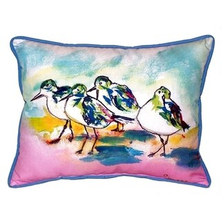Betsy Drake Pink Sanderlings Multicolor Polyester 16-inch x 20-inch Indoor/Outdoor Throw Pillow