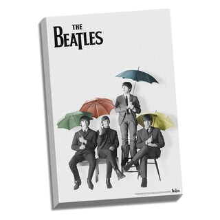 The Beatles Black and White with Color Umbrellas 24x36 Canvas