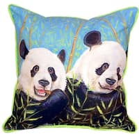 Pandas 18-inch x 18-inch Indoor/Outdoor Throw Pillow