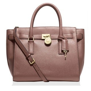 Michael Kors Hamilton Traveler Large Leather Dusty Rose Satchel Handbag