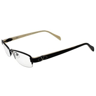 Valentino Unisex Black Semi Rimless Metal Rectangle Eyeglasses