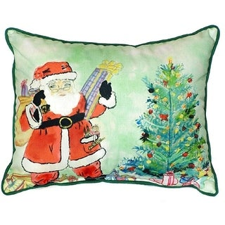 Santa & Tree Multicolored Polyester Indoor/Outdoor Throw Pillow