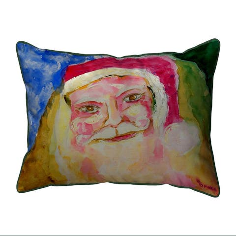 Santa Face Multi-color Polyester Indoor/Outdoor Throw Pillow