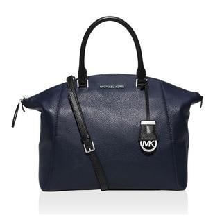 Michael Kors Riley Large Two-Tone Leather Navy/Black Satchel Handbag