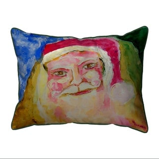 Santa Face Multicolored Polyester Indoor/Outdoor Throw Pillow