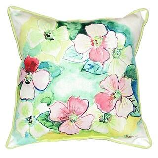 Flower Wreath 22-inch x 22-inch Indoor/Outdoor Throw Pillow