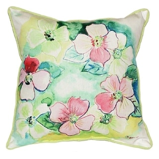 Flower Wreath Polyester 18-inch x 18-inch Indoor/Outdoor Throw Pillow