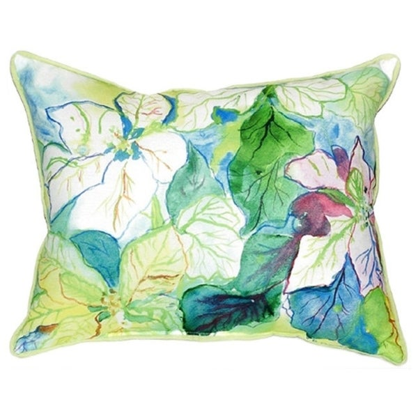 Delightful Betsy Drake Interiors White Poinsettia Multicolored Polyester 16x20 Throw  Pillow Design Inspirations