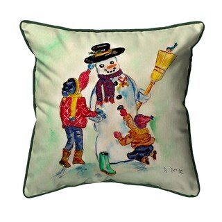 Betsy Drake Snowman 18-inch x 18-inch Indoor/Outdoor Throw Pillow