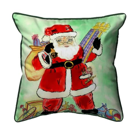 Betsy Drake Santa 18-inch x 18-inch Indoor/Outdoor Throw Pillow
