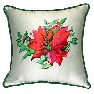 Betsy Drake Poinsettia 18-inch x 18-inch Throw Pillow