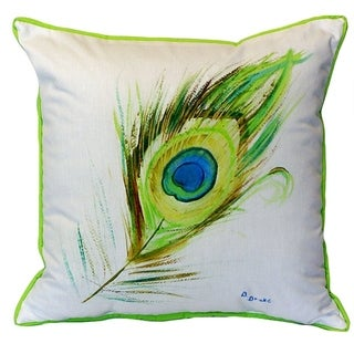 22-inch x 22-inch Peacock Feather Indoor/Outdoor Throw Pillow