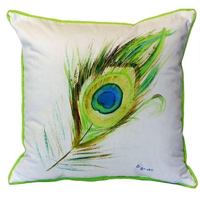18-inch x 18-inch Peacock Feather Indoor/Outdoor Throw Pillow (Peacock Feather Indoor/Outdoor Pillow 18x18)