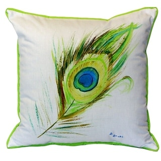 18-inch x 18-inch Peacock Feather Indoor/Outdoor Throw Pillow