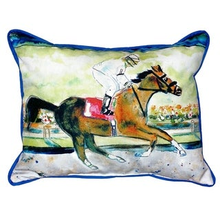 Betsy Drake Racing Horse Multicolor Polyester 20-inch x 24-inch Indoor/Outdoor Throw Pillow