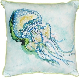 Betsy Drake Interiors Jelly Fish Multicolored Polyester 18-inch Indoor/Outdoor Throw Pillow