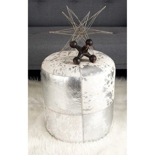 Gold/White Wood/Leather Hide Ottoman