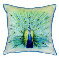 Betsy Drake Peacock 18-inch x 18-inch Throw Pillow