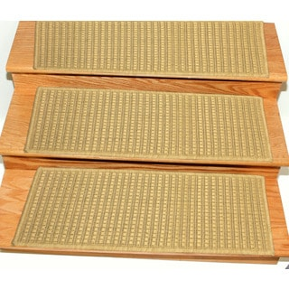 "Berrnour Home Summer Collection 14 Piece Set of Solid Design Indoor / Outdoor Jute Backing Stair Treads (8.5"" x 26.6"")"